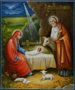 Рукописная икона Рождество Христово 3