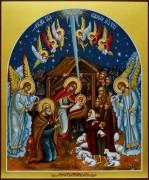 Рукописная икона Рождество Христово 4
