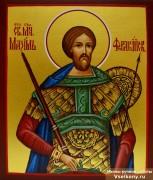 Рукописная икона Максим Фракийский в киоте 2 (Размер 14*16 см)