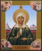 Рукописная икона Матрона Московская с клеймами 8