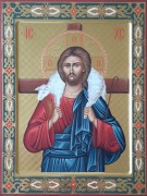 Рукописная икона Добрый Пастырь с резьбой 2