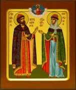 Рукописная икона Петр и Феврония 58 (Размер 17*21 см)