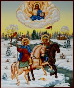 Рукописная икона Борис и Глеб 3