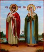 Рукописная икона Петр и Феврония масло 59