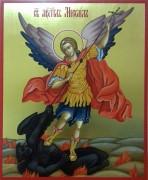 Рукописная икона Архангел Михаил попирающий дьявола