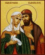 Рукописная икона Петр и Феврония с резьбой 61