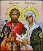 Рукописная икона Петр и Феврония с голубем 62