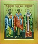 Рукописная икона Три Святителя с резьбой 2