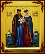 Рукописная икона Петр и Феврония с голубем 63