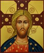 Рукописная икона Спас Златые Власа