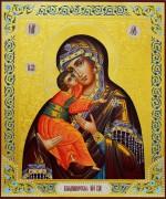 Рукописная Владимирская икона с резьбой 11