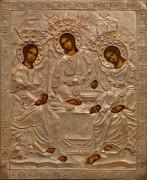 Рукописная икона Святая Троица в окладе 2 (Размер 18*21 см)
