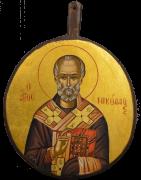 Греческая рукописная икона Николай Чудотворец 2