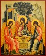 Рукописная икона Святая Троица под старину 11 (Размер 17*21 см)