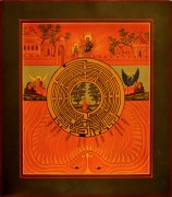Рукописная икона Духовный Лабиринт (Размер 30*33 см)