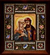 Икона из финифти Петр и Феврония (Размер 14*16 см)