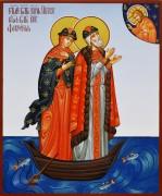 Рукописная икона Петр и Феврония в ладье (Размер 17*21 см)
