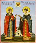 Рукописная икона Петр и Феврония 66 (Размер 17*21 см)