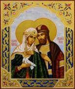 Рукописная икона Петр и Феврония с резьбой 68 (Размер 21*25 см)