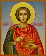Рукописная икона Пантелеймон Целитель 8 (Размер 13*16 см)