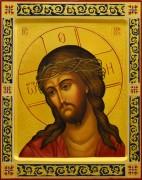 Рукописная икона Спас в терновом венце с резьбой 2 (Размер 22*28 см)
