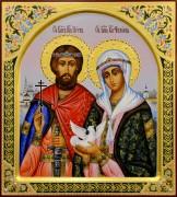 Рукописная икона Петр и Феврония с жемчугом 70 (Размер 27*31 см)