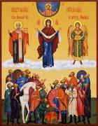 Рукописная икона Покров Пресвятой Богородицы с казаками