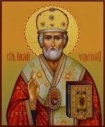 Рукописная икона Николай Чудотворец 33 (Размер 17*21 см)