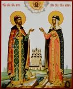 Рукописная икона Петр и Феврония под старину 72 (Размер 17*21 см)