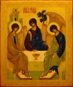 Рукописная икона Святая Троица под старину 12 (Размер 27*31 см)