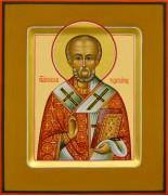 Рукописная икона Николай Чудотворец 36 (Размер 12*14 см)