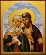 Рукописная икона Петр и Феврония 71 (Размер 17*21 см)