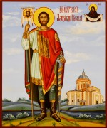 Рукописная икона Александр Невский 13