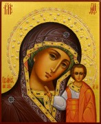 Рукописная икона Казанская 26 с жемчугом