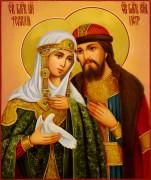 Рукописная икона Петр и Феврония 74 масло (Размер 17*21 см)