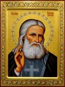 Рукописная икона Серафим Саровский преподобный