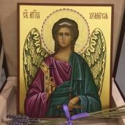 Рукописная икона Ангел Хранитель с резьбой по нимбу 30 (Размер 17*21 см)