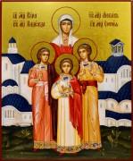 Рукописная икона Вера Надежда Любовь и Мать их София 12 (17*21 см)