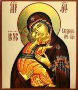 Рукописная Владимирская икона Божией Матери (Размер 9*10.5 см)