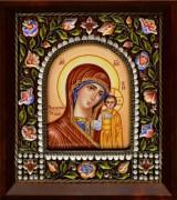 Икона из финифти Казанская 2 (Размер 14*16 см)