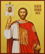 Рукописная икона Александр Невский 18 (Размер 17*21 см)