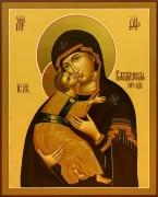 Рукописная Владимирская икона Божией Матери (Размер 13*16 см)