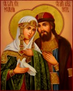 Рукописная икона Петр и Феврония 74 масло