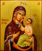Рукописная икона Виленская Божия Матерь