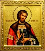 Рукописная икона Александр Невский с мощевиком 20 (Размер 27*31 см)