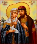 Рукописная икона Петр и Феврония 76 масло (Размер 21*25 см)