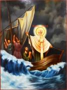Рукописная икона Спасение моряков Николаем Чудотворцем масло