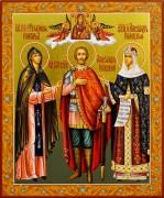 Рукописная икона Александр Невский с Феодосией Новг. и Александрой Полоцкой