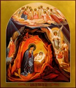 Рукописная икона Рождество Христово 7