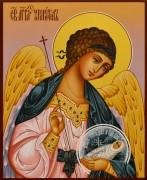 Рукописная икона Ангел Хранитель с Душой 55 (Размер 13*16 см)